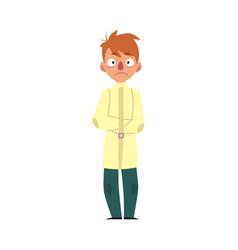 Man having mental disorder in straitjacket vector