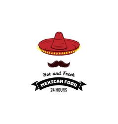 mexican sombrero hat cuisine icon vector image