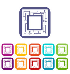 Microchip icons set flat vector