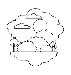 monochrome silhouette scene of natural landscape vector image