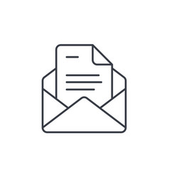 office mail open envelope email thin line icon vector image vector image