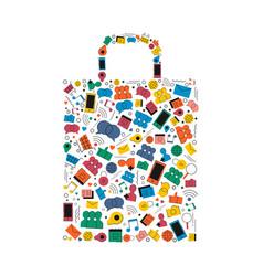 Online shopping bag social media icon shape design vector