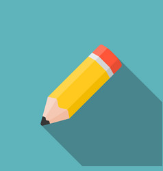 pencil icon with long shadow vector image vector image