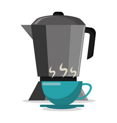 pot coffee maker and cup hot vector image vector image