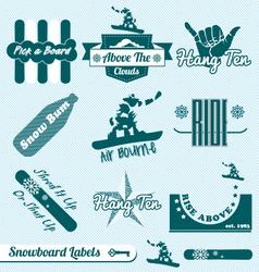 Retro Snowboarding Labels vector image