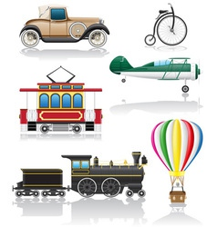 set icons old retro transport vector image vector image