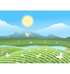 Spring farm landscape vector