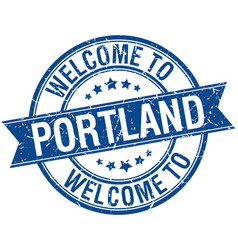 Welcome to portland blue round ribbon stamp vector