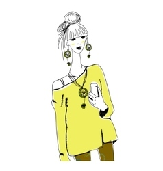 Young fashion woman in boho style with phone doing vector