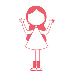Young girl with hands up avatar character vector
