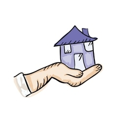 Hand holding a house vector