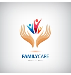 Family life insurance sign icon hands vector