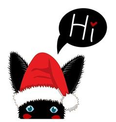 Black rabbit sneaking christmas day vector