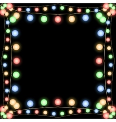 Glowing christmas garlands frame black vector
