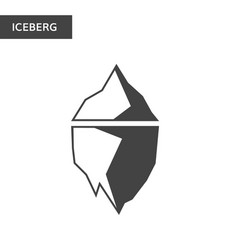 Monochrome iceberg icon dark and white vector