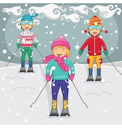 Of kids skiing vector