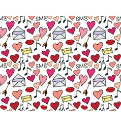 Seamless pattern of loving hearts vector