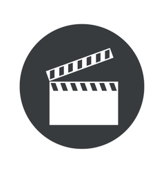 Monochrome round clapperboard icon vector
