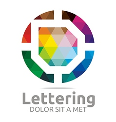 Logo Abstract Lettering D Rainbow Alphabet Icon vector image