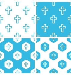Catholic cross patterns set vector