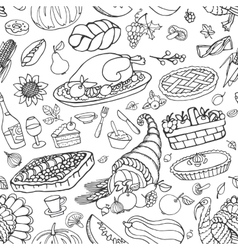 Thanksgiving day doodle icons seamless pattern vector