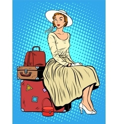 Girl passenger baggage travel trip vector