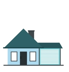 Cottage with a garage icon vector
