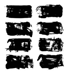 Abstract big black long textured brush strokes vector