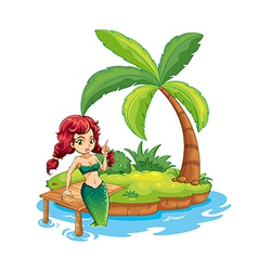 An island with a mermaid vector image vector image