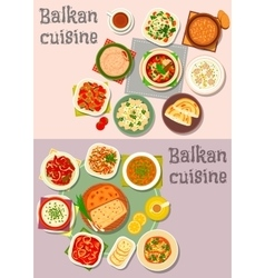 Balkan cuisine dinner dishes with pies icon set vector