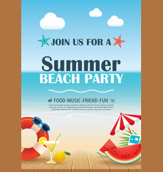 Beach party invitation poster with vacation vector