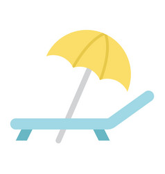 Beach umbrella with deckchair flat icon travel vector