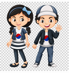 Boy and girl wearing shirts with south korea flag vector
