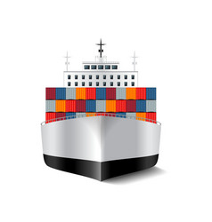 Cargo ship isolated on white vector image vector image