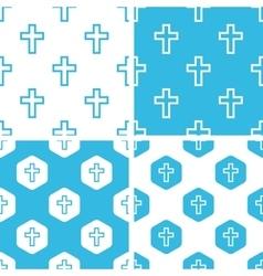 Catholic cross patterns set vector