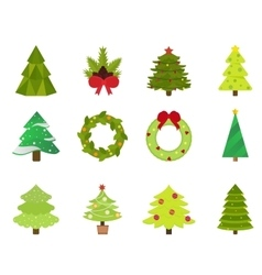 Christmas tree flat icons set vector image vector image