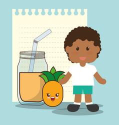 Cute boy glass jar pineapple juice vector
