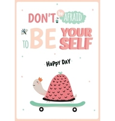 Cute card with funny turtle vector image
