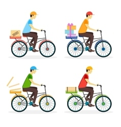 Delivery boy on the bike set vector