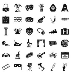 Dramatization icons set simple style vector