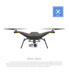 Drone with action camera on a white background vector