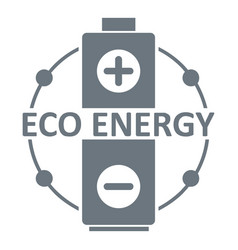 eco battery logo simple gray style vector image vector image