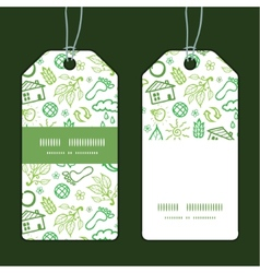 Ecology symbols vertical stripe frame pattern tags vector