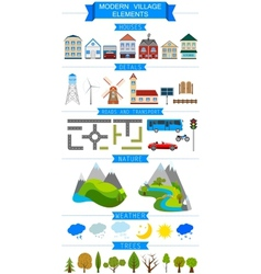 Elements of a modern village or city vector