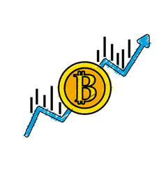 Financial arrow up to bitcoin currency vector