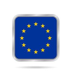 Flag of eu shiny metallic gray square button vector