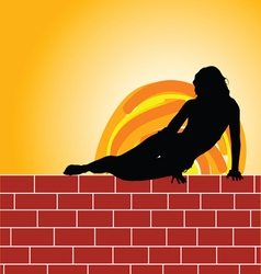 girl on brick wall vector image