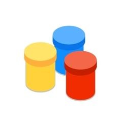 Gouache in jars icon isometric 3d style vector