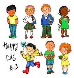 Happy Kids - part 3 Hand drawn clip-art vector image vector image
