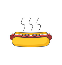 Hotdog icon flat vector